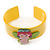 Yellow, Light Green, Pink Acrylic, Austrian Crystal Wide Angel Cuff Bracelet - 19cm L - view 6