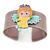 Beige, Yellow, Light Blue, Pink Acrylic, Austrian Crystal Wide Angel Cuff Bracelet - 19cm L - view 2