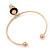 Gold Tone Slip-On Cuff Bracelet With A Skull In The Hat Charm - 19cm L - view 6