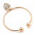 Gold Tone Slip-On Cuff Bracelet With A Crystal Heart Charm - 18cm L - view 5