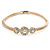 Gold Tone, Crystal Triple Circle Bangle Bracelet - 18cm L