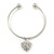 Silver Tone Slip-On Cuff Bracelet With A Crystal Heart Charm - 18cm L