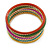 Multicoloured Smooth and Twisted Metal Bangle Set of 9 In Gold Tone - 20cm Length - view 7