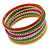Multicoloured Smooth and Twisted Metal Bangle Set of 9 In Gold Tone - 20cm Length - view 8