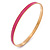 Thin Pink Enamel Bangle Bracelet In Gold Plating - 19cm L