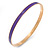 Thin Purple Enamel Bangle Bracelet In Gold Plating - 19cm L