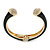 Black Enamel, Crystal Hinged Cuff Bangle Bracelet In Gold Plated Metal - 19cm L - view 4