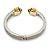 Vintage Inspired Textured Hinged Bangle In Silver/ Gold Tone - 18cm L - view 6