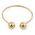 Gold Plated Double Ball Cuff Bangle Bracelet - 18cm L - Adjustable - view 3