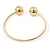 Gold Plated Double Ball Cuff Bangle Bracelet - 18cm L - Adjustable - view 4