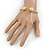 Gold Plated Double Ball Cuff Bangle Bracelet - 18cm L - Adjustable - view 2