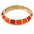 Bright Orange Enamel Hinged Bangle Bracelet In Gold Plating - 19cm L - view 2