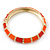 Bright Orange Enamel Hinged Bangle Bracelet In Gold Plating - 19cm L - view 7