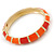 Bright Orange Enamel Hinged Bangle Bracelet In Gold Plating - 19cm L - view 8