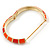Bright Orange Enamel Hinged Bangle Bracelet In Gold Plating - 19cm L - view 4
