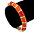 Bright Orange Enamel Hinged Bangle Bracelet In Gold Plating - 19cm L - view 5