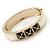 White Enamel, Black Square Pyramid Stud Hinged Bangle Bracelet In Gold Plating - 19cm L - view 7