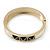 White Enamel, Black Square Pyramid Stud Hinged Bangle Bracelet In Gold Plating - 19cm L - view 8