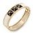 White Enamel, Black Square Pyramid Stud Hinged Bangle Bracelet In Gold Plating - 19cm L