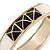 White Enamel, Black Square Pyramid Stud Hinged Bangle Bracelet In Gold Plating - 19cm L - view 4