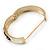 White Enamel, Black Square Pyramid Stud Hinged Bangle Bracelet In Gold Plating - 19cm L - view 6
