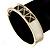 White Enamel, Black Square Pyramid Stud Hinged Bangle Bracelet In Gold Plating - 19cm L - view 5