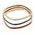 Set Of 3 White/ Red/ Blue Enamel Square Slip-On Bangle In Gold Plating - 19cm Length