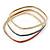 Set Of 3 White/ Red/ Blue Enamel Square Slip-On Bangle In Gold Plating - 19cm Length - view 7