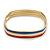 Set Of 3 White/ Red/ Blue Enamel Square Slip-On Bangle In Gold Plating - 19cm Length - view 9
