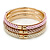 Set Of 3 Cream/ Beige/ Pink Silk Twisted Cord Slip-On Bangle In Gold Plating - 19cm Length - view 8