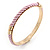 Set Of 3 Cream/ Beige/ Pink Silk Twisted Cord Slip-On Bangle In Gold Plating - 19cm Length - view 6