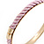 Set Of 3 Cream/ Beige/ Pink Silk Twisted Cord Slip-On Bangle In Gold Plating - 19cm Length - view 7