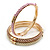 Set Of 3 Cream/ Beige/ Pink Silk Twisted Cord Slip-On Bangle In Gold Plating - 19cm Length - view 9