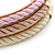 Set Of 3 Cream/ Beige/ Pink Silk Twisted Cord Slip-On Bangle In Gold Plating - 19cm Length - view 3