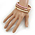 Set Of 3 Cream/ Beige/ Pink Silk Twisted Cord Slip-On Bangle In Gold Plating - 19cm Length - view 4
