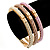 Set Of 3 Cream/ Beige/ Pink Silk Twisted Cord Slip-On Bangle In Gold Plating - 19cm Length - view 2