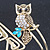 Vintage Inspired Crystal Owl Upper Arm, Armlet Bracelet In Burnt Gold Tone - 27cm L - Adjustable - view 5