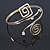 Polished Gold Tone, Crystal Swirl Cirle and Square Motif Upper Arm, Armlet Bracelet - 27cm L - Adjustable - view 10