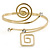 Polished Gold Tone, Crystal Swirl Cirle and Square Motif Upper Arm, Armlet Bracelet - 27cm L - Adjustable - view 6