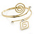 Polished Gold Tone, Crystal Swirl Cirle and Square Motif Upper Arm, Armlet Bracelet - 27cm L - Adjustable - view 13