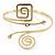Polished Gold Tone, Crystal Swirl Cirle and Square Motif Upper Arm, Armlet Bracelet - 27cm L - Adjustable