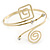 Polished Gold Tone, Crystal Swirl Cirle and Square Motif Upper Arm, Armlet Bracelet - 27cm L - Adjustable - view 7