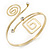 Polished Gold Tone, Crystal Swirl Cirle and Square Motif Upper Arm, Armlet Bracelet - 27cm L - Adjustable - view 14