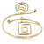 Polished Gold Tone, Crystal Swirl Cirle and Square Motif Upper Arm, Armlet Bracelet - 27cm L - Adjustable - view 2