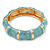 Light Blue Enamel Segmental Hinged Bangle Bracelet In Gold Plating - 19cm L - view 7