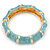 Light Blue Enamel Segmental Hinged Bangle Bracelet In Gold Plating - 19cm L - view 8