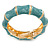 Light Blue Enamel Segmental Hinged Bangle Bracelet In Gold Plating - 19cm L - view 4