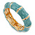 Light Blue Enamel Segmental Hinged Bangle Bracelet In Gold Plating - 19cm L - view 5