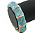 Light Blue Enamel Segmental Hinged Bangle Bracelet In Gold Plating - 19cm L - view 2
