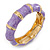 Light Purple Enamel Segmental Hinged Bangle Bracelet In Gold Plating - 19cm L